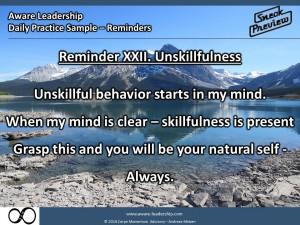 Reminder XXII. Unskillfulness